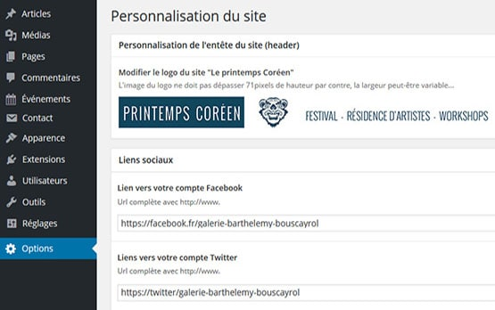 intégration de thèmes Wordpress personnalisables