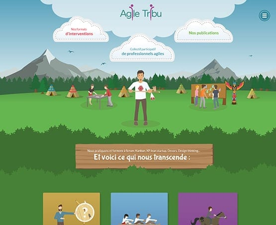 Webdesign et illustrations du site Agile Tribu