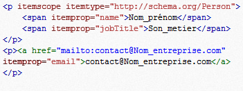 Exemple simple sur l'utilisation des Microdata