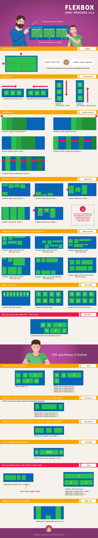 Flexbox, mémento sur toutes les propriétés CSS de ce module rassemblées dans une seule infographie.